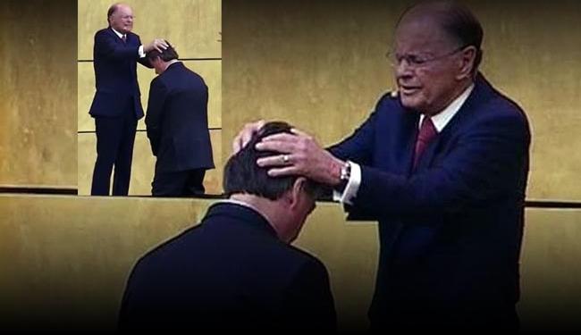 Bolsonaro foi ungido no Templo de Salomão, em São Paulo, em 2019 Imagem: Arquivo - Reprodução/YouTube...