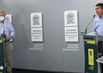 Secretários Geraldo Resende e Eduardo Riedel em live na manhã desta terça-feira – Foto: Saul Schramm